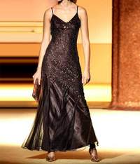Evening gown with beads, brown