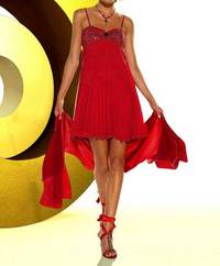 Babydoll evening gown, red