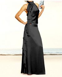 Silky evening gown, black