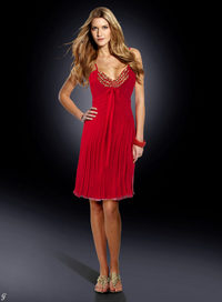 Silky evening gown, red