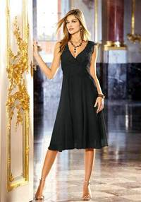 Silk chiffon dress with flounces, black