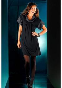 Dress with satin, black