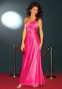 Satin evening gown, pink with strass