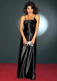 Satin evening gown, black